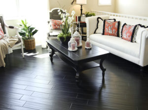 Dark Hard Wood Flooring In Living Room